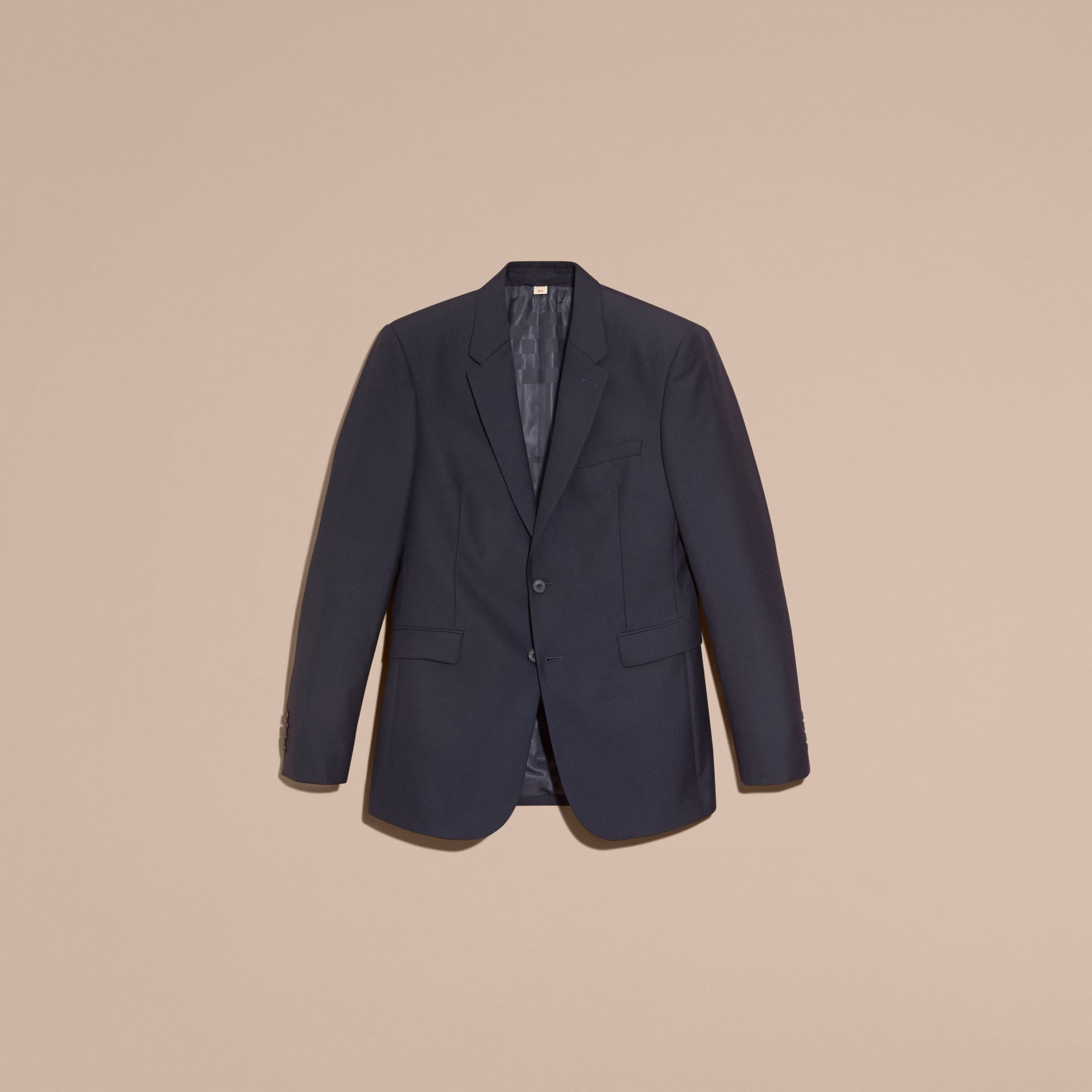 Navy Modern Fit Wool Part-canvas Jacket - gallery image 4