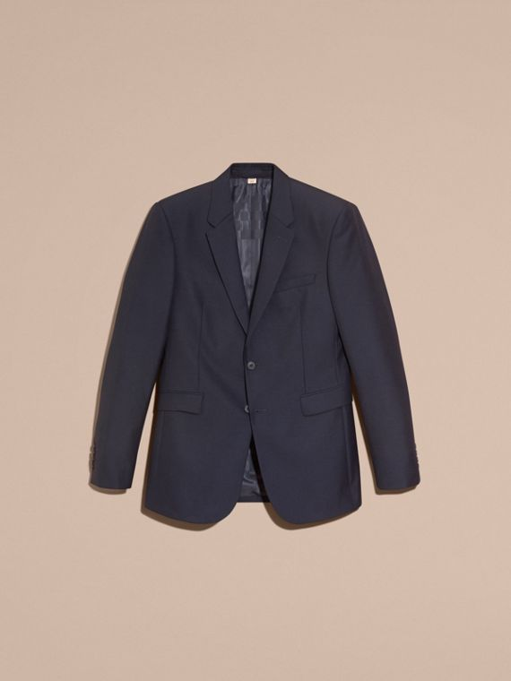 Navy Modern Fit Wool Part-canvas Jacket - cell image 3