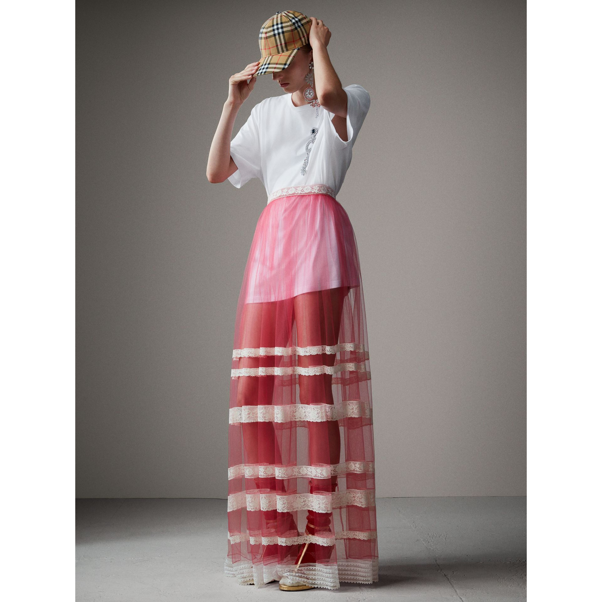 Floor-length English Lace Trim Tulle Skirt in Bright Pink - Women | Burberry Singapore - gallery image 1