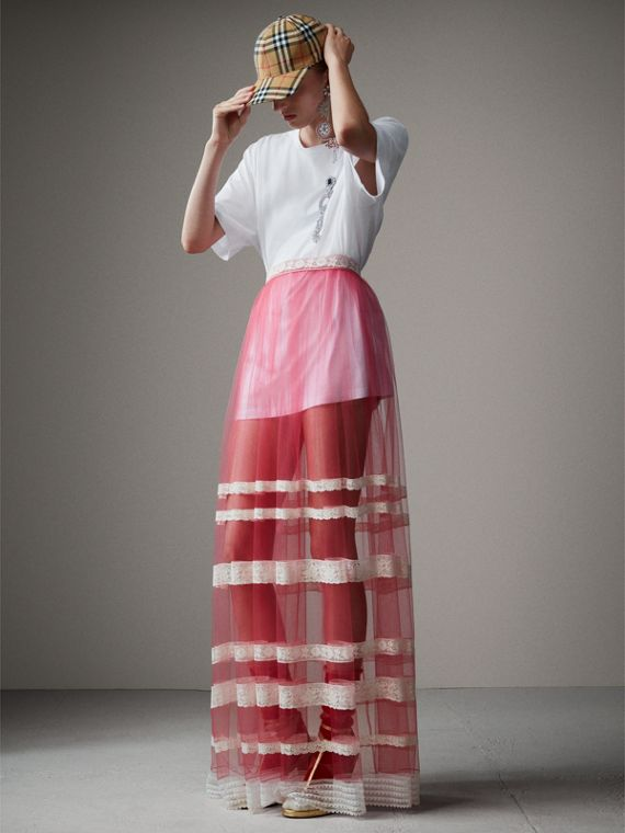Floor-length English Lace Trim Tulle Skirt in Bright Pink