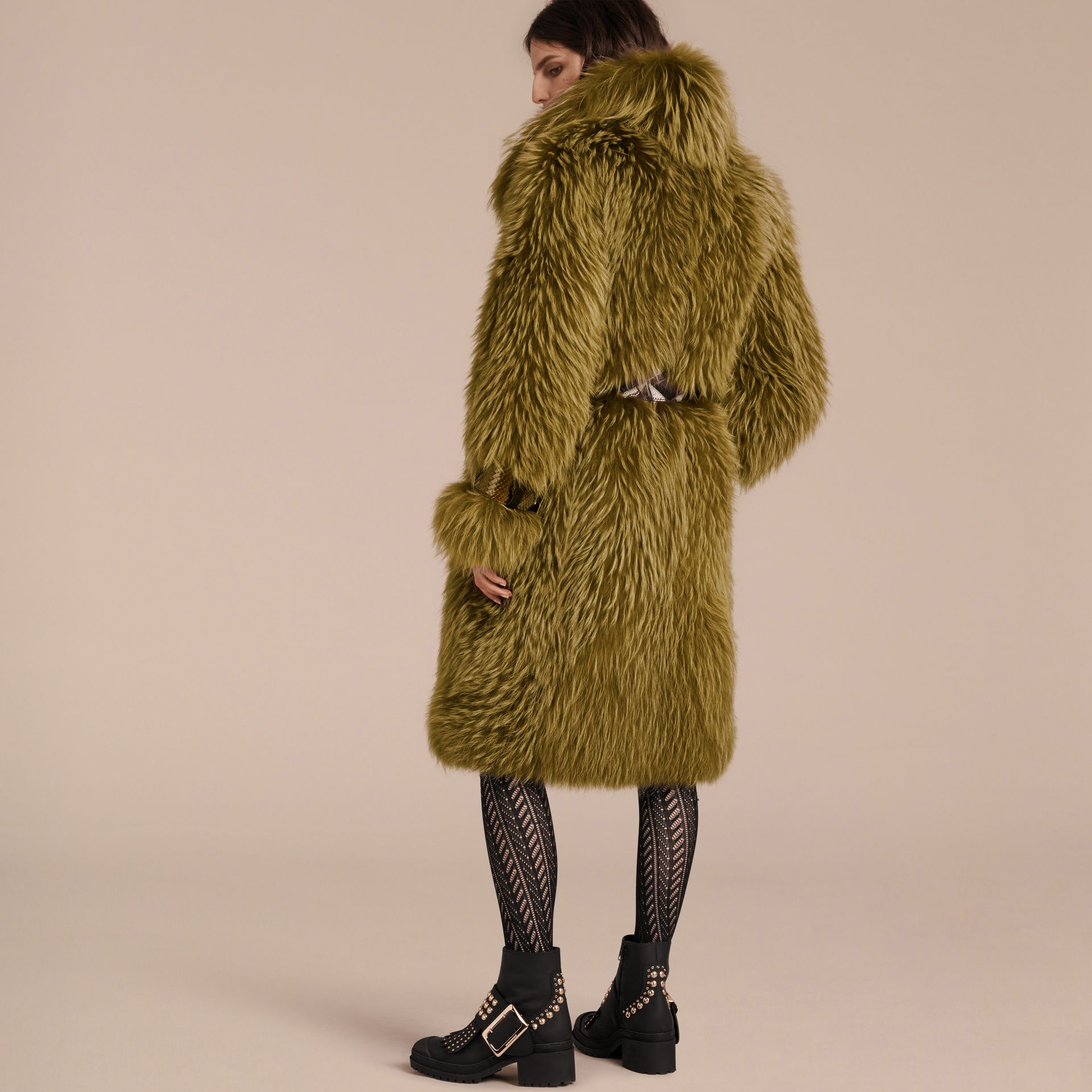 Bright yellow olive Oversize Raccoon Coat with Snakeskin Details - gallery image 3