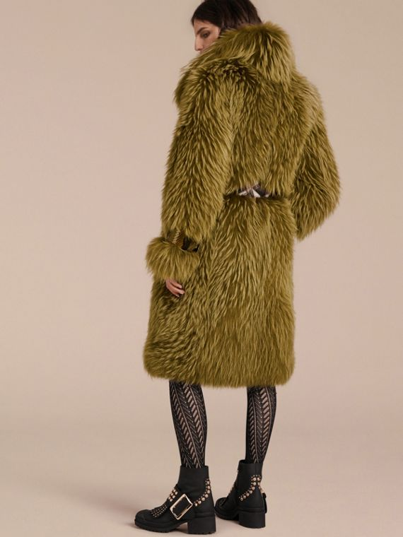 Bright yellow olive Oversize Raccoon Coat with Snakeskin Details - cell image 2