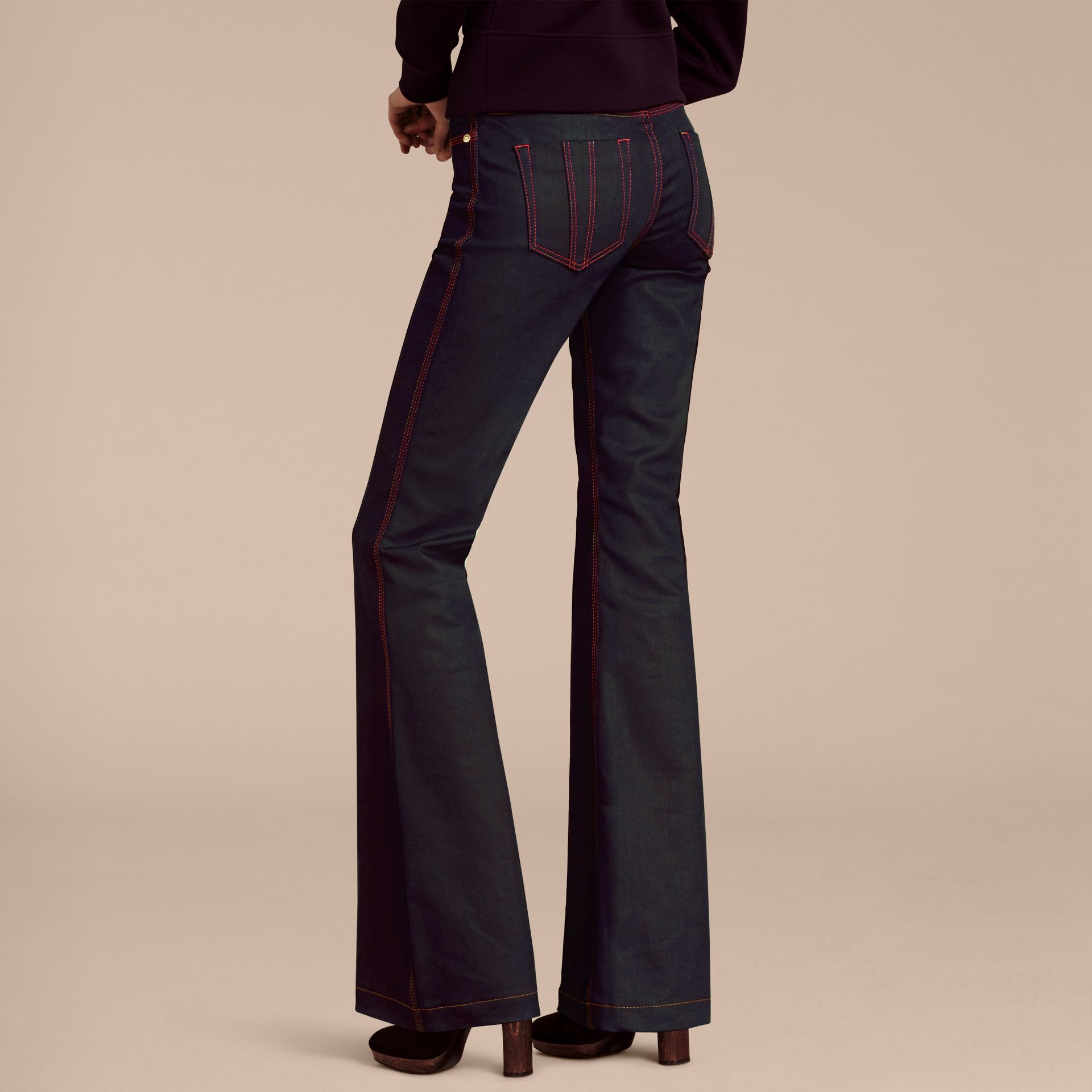 Indigo Flared Stretch Denim Jeans - gallery image 3