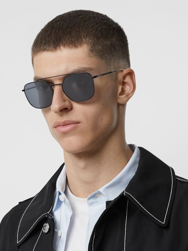 Top Bar Detail Square Pilot Sunglasses in Matt Black - Men | Burberry United Kingdom - cell image 2