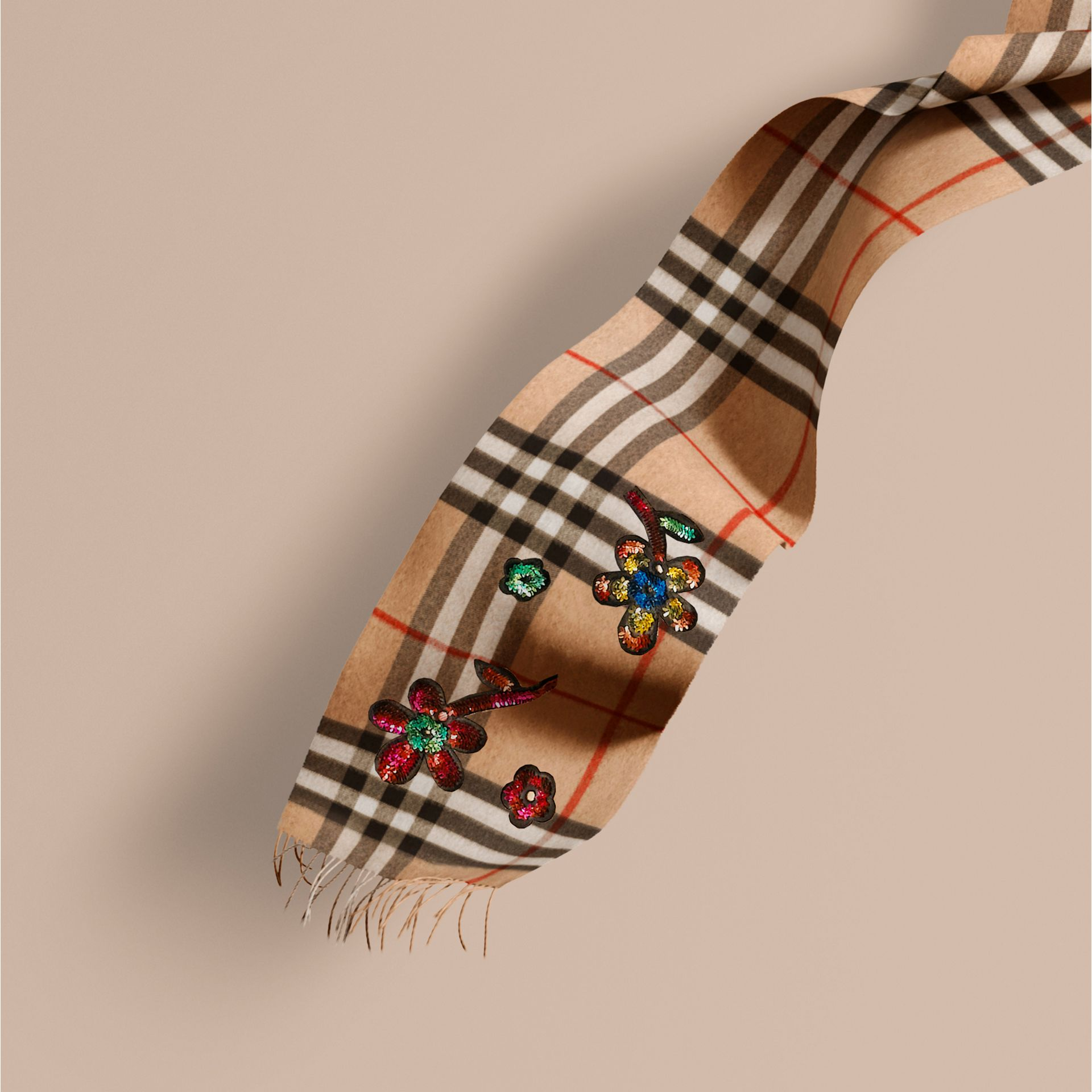 Camel The Classic Cashmere Scarf in Check with Sequinned Flowers - gallery image 1