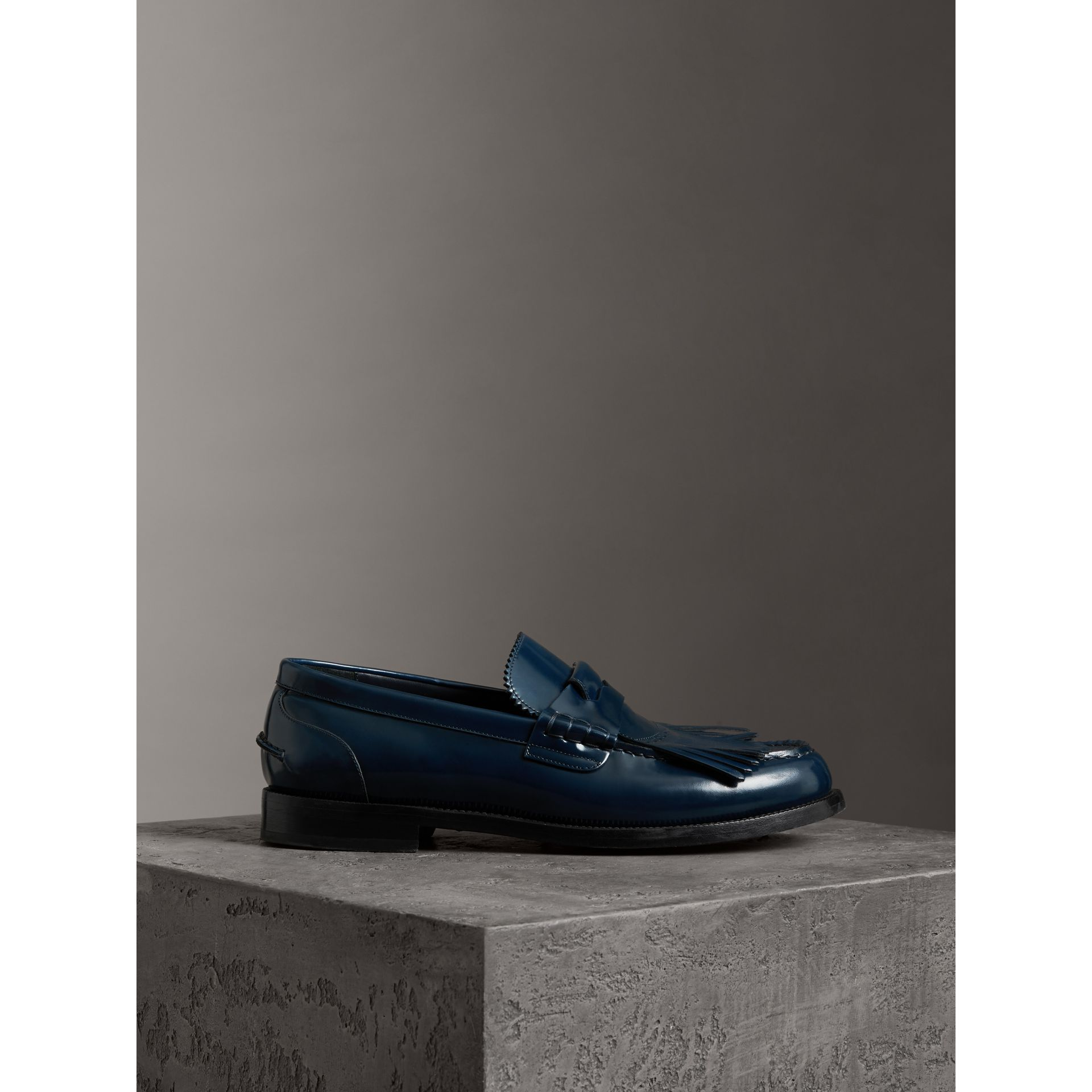 Kiltie Fringe Leather Loafers in Navy - Men | Burberry - gallery image 4