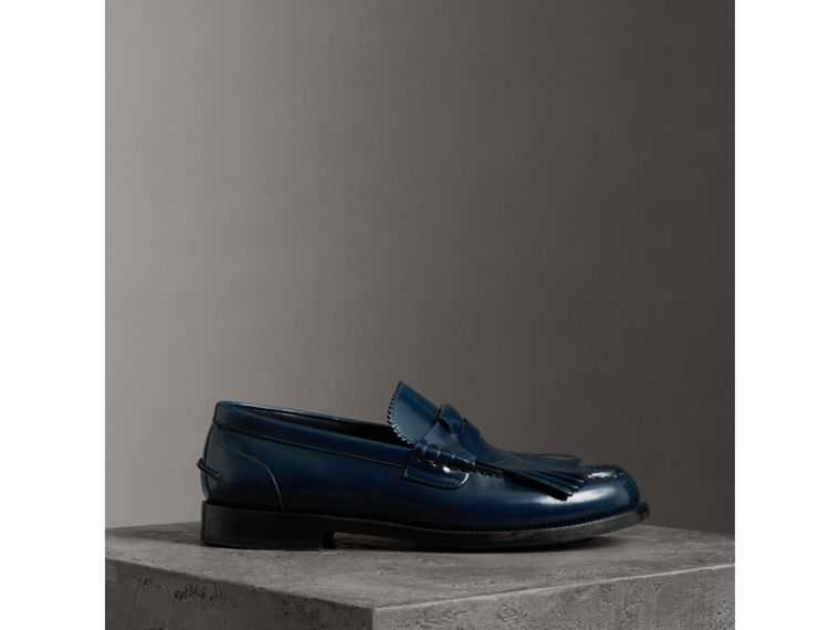 Kiltie Fringe Leather Loafers in Navy - Men | Burberry - cell image 4