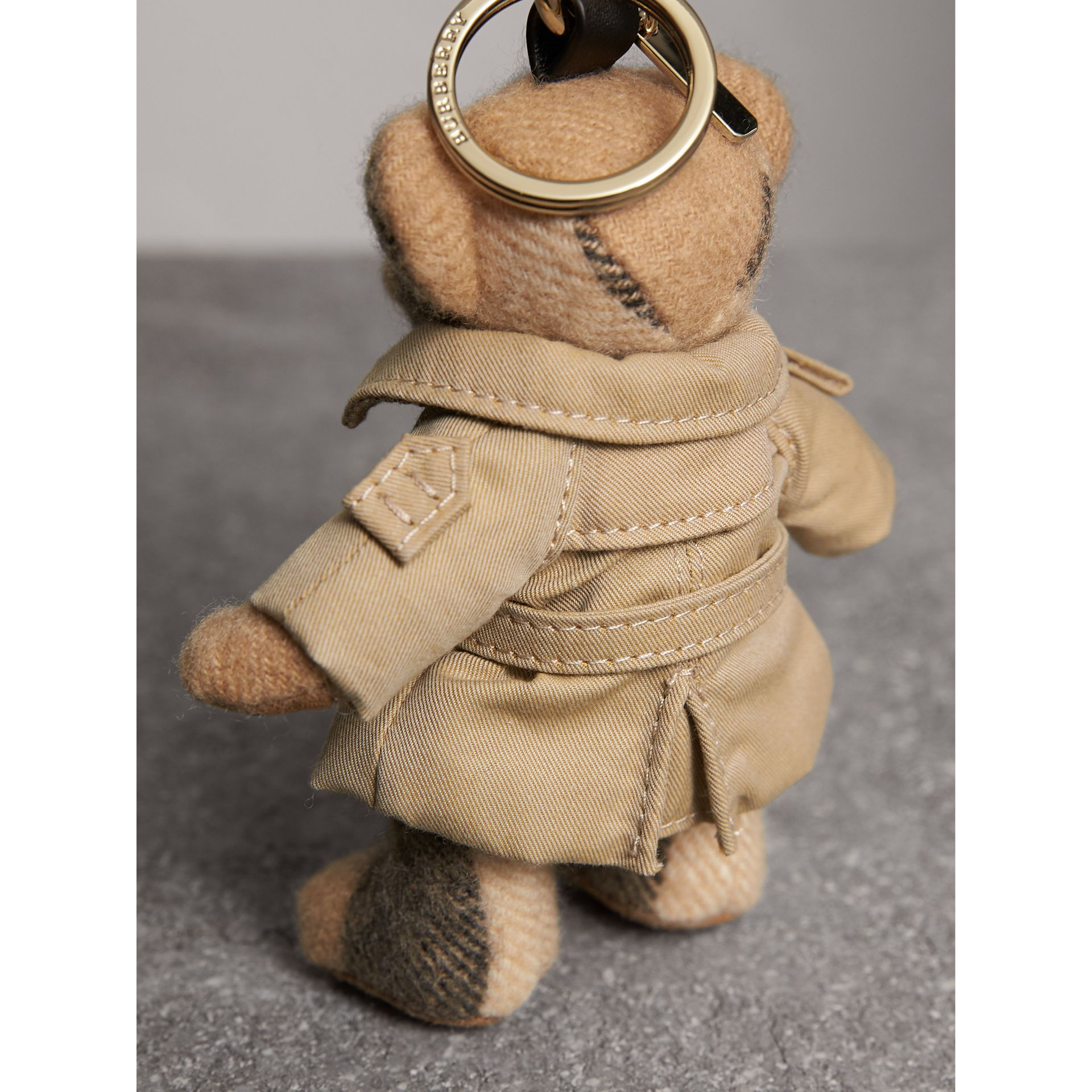 Thomas Bear Charm in Trench Coat in Camel | Burberry Australia - gallery image 3