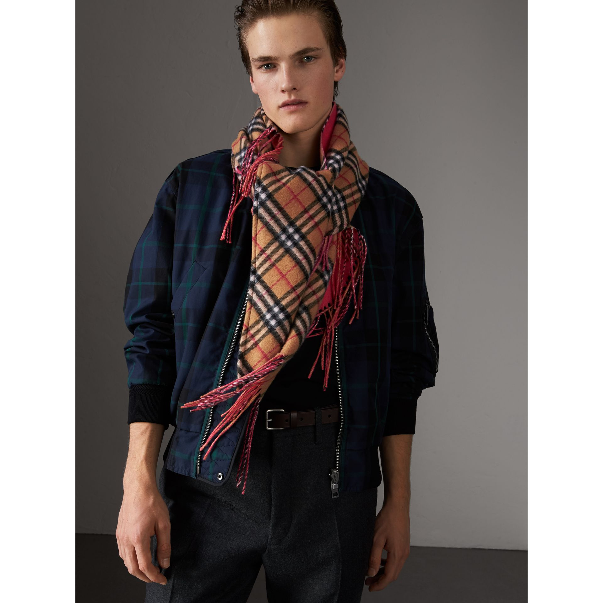 The Burberry Bandana in Vintage Check and Neon Cashmere in Bright Peony | Burberry United Kingdom - gallery image 7