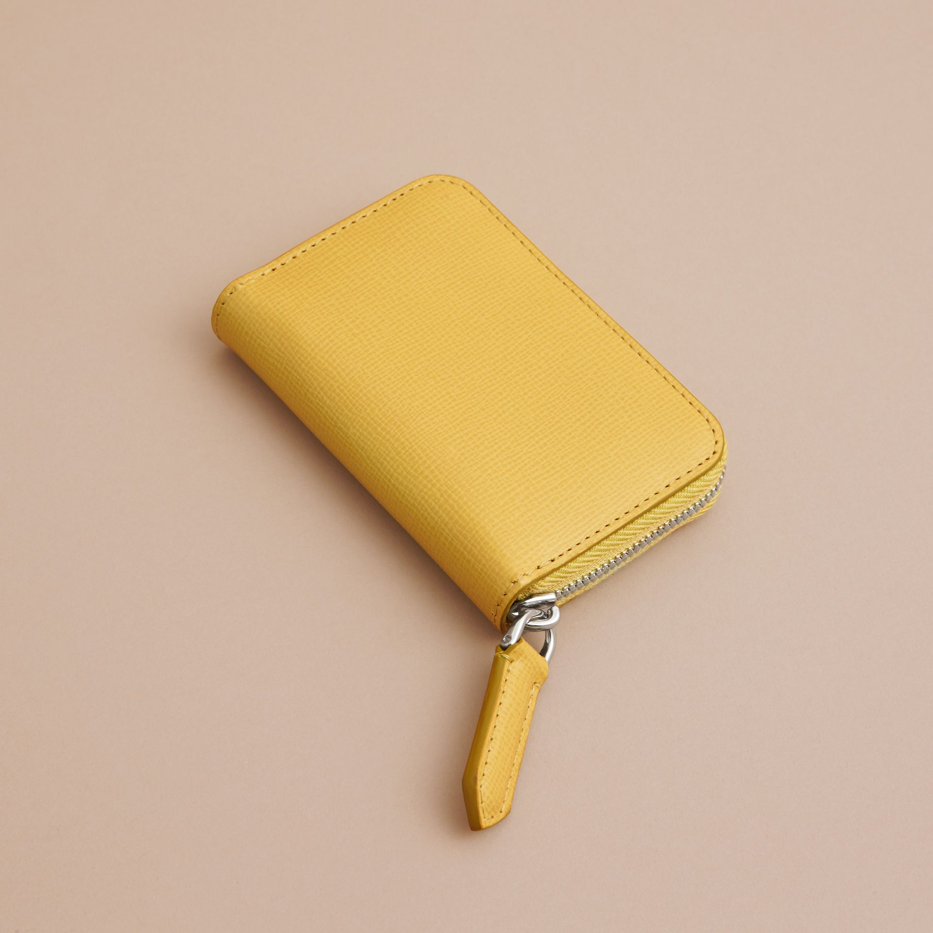 London Leather Ziparound Coin Case in Bright Citrus | Burberry Canada - gallery image 3