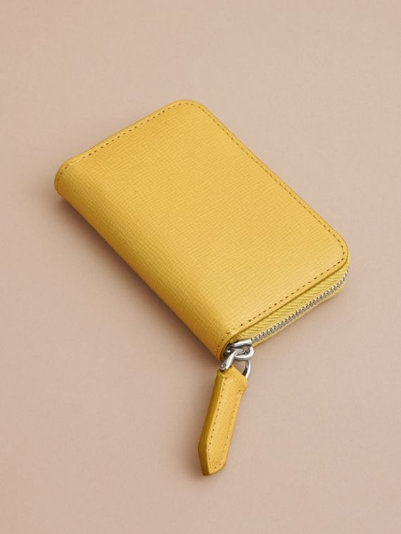 London Leather Ziparound Coin Case in Bright Citrus | Burberry Canada - cell image 2