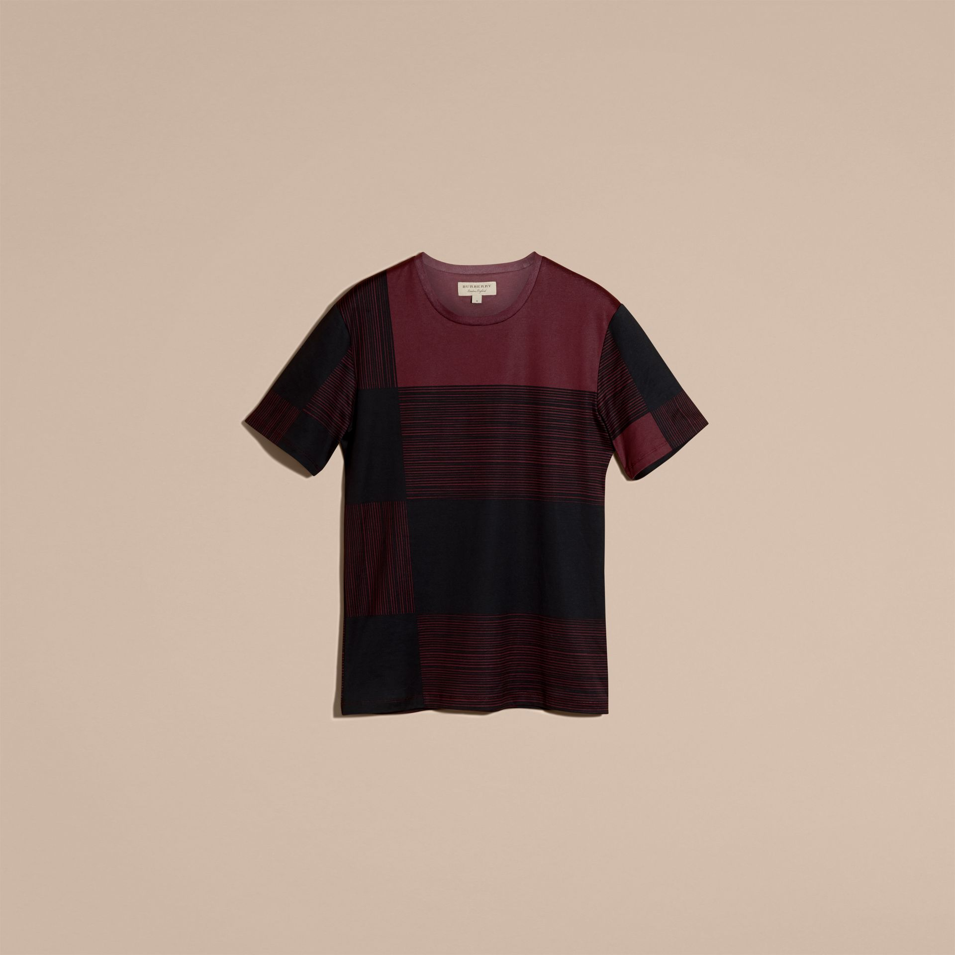 Burgundy Check Print Cotton T-shirt Burgundy - gallery image 4