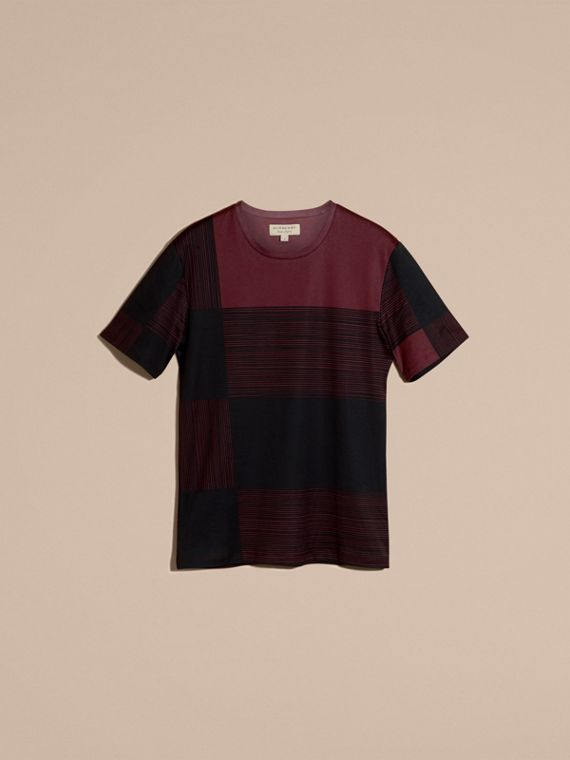 Burgundy Check Print Cotton T-shirt Burgundy - cell image 3
