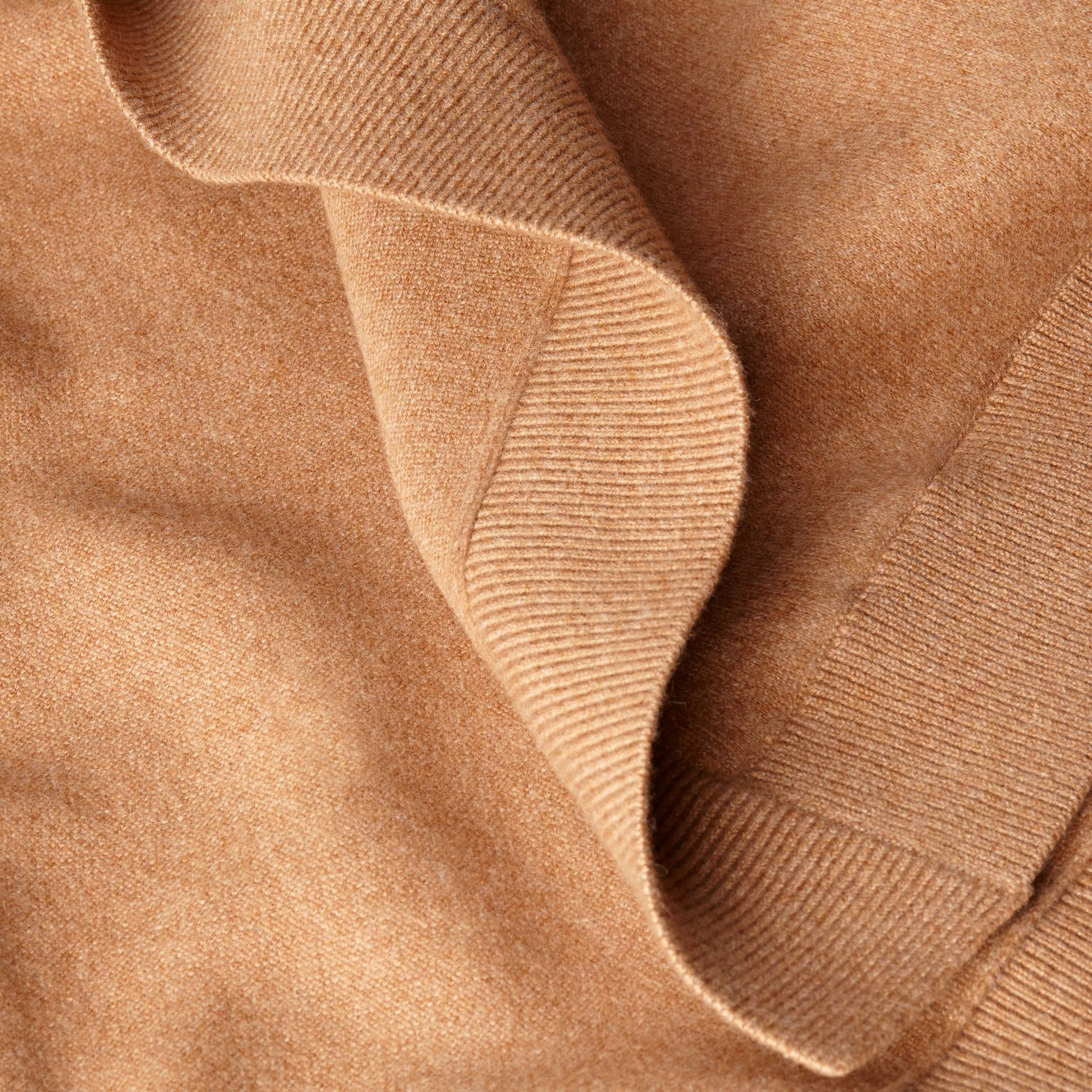 Wool Cashmere Blend Hooded Poncho Camel - gallery image 2