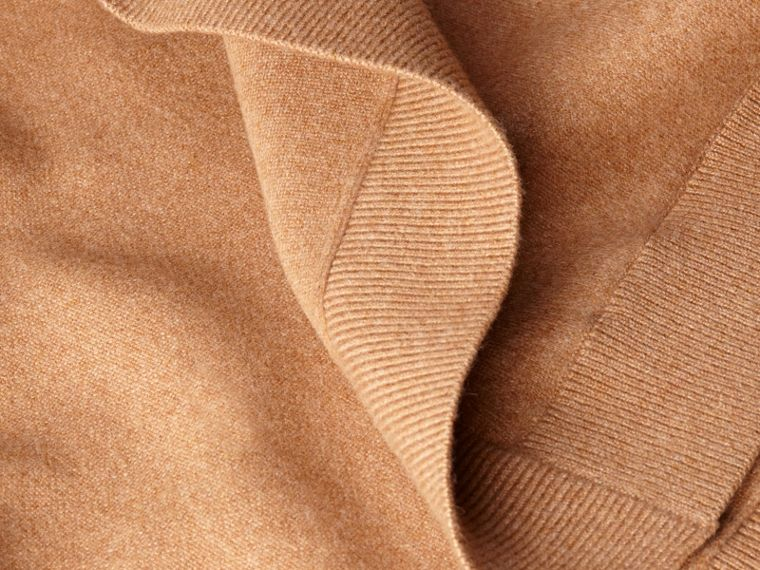 Wool Cashmere Blend Hooded Poncho Camel - cell image 1