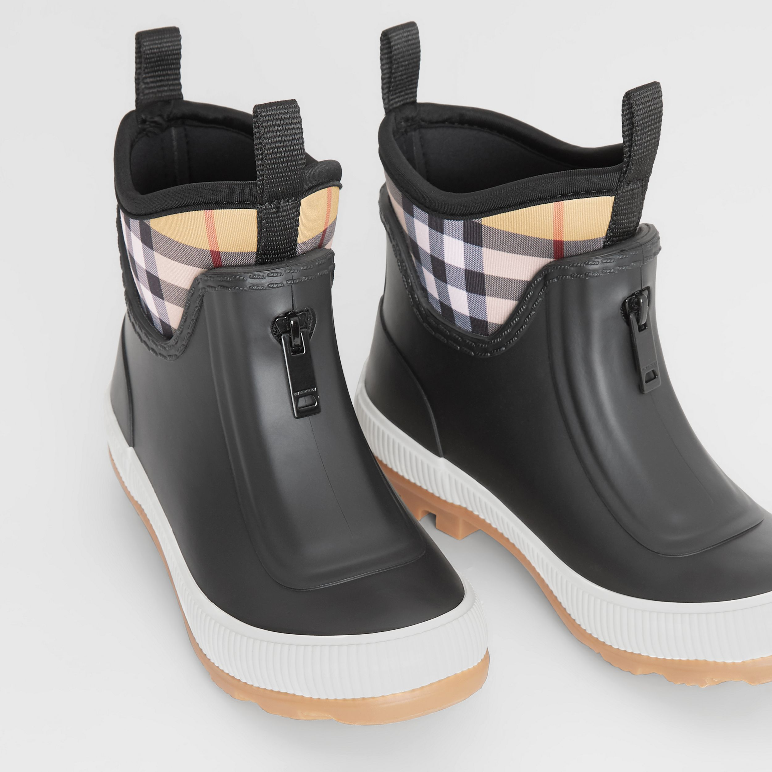 Vintage Check Neoprene and Rubber Rain Boots in Black - Children | Burberry - 2