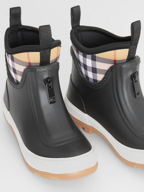 Vintage Check Neoprene and Rubber Rain Boots in Black - Children | Burberry Australia - cell image 1