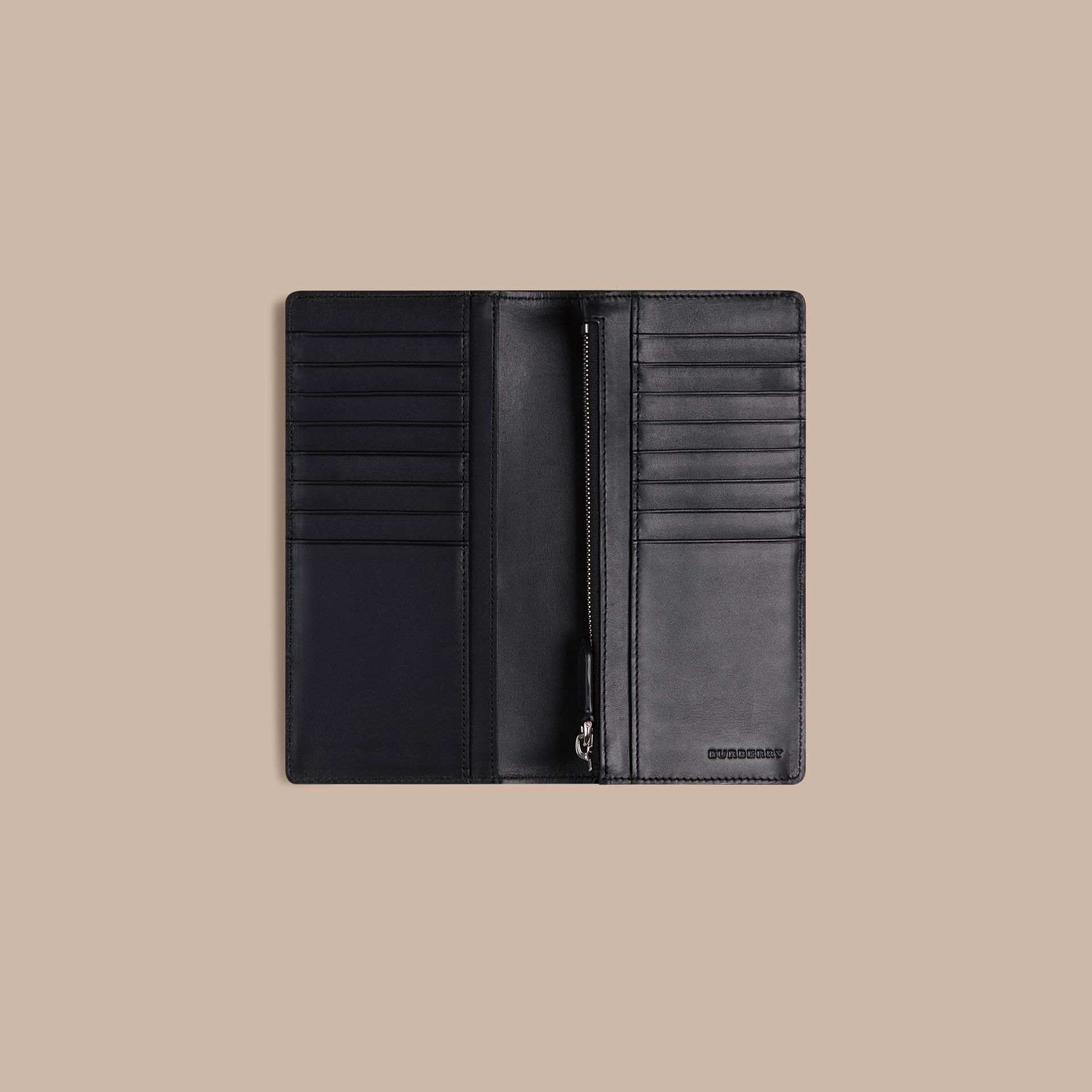 London Check and Leather Continental Wallet in Navy/black - gallery image 6