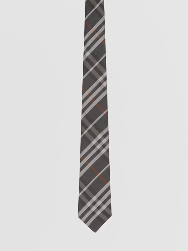Classic Cut Vintage Check Silk Tie in Dark Steel Grey - Men | Burberry Australia - cell image 3