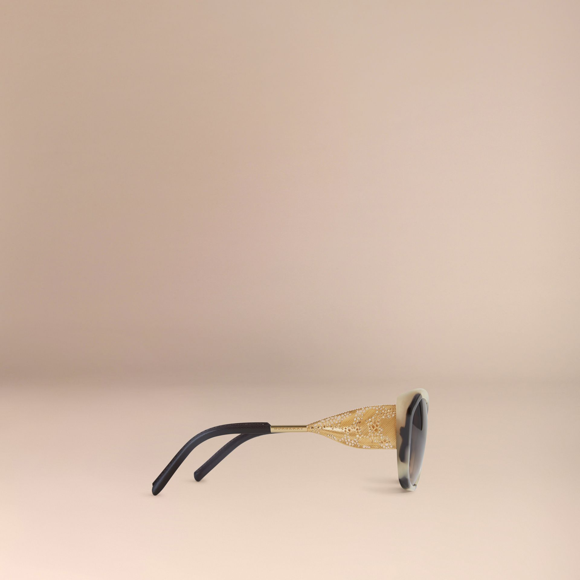 Gabardine Lace Collection Square Frame Sunglasses in Mid Tone Horn - gallery image 4