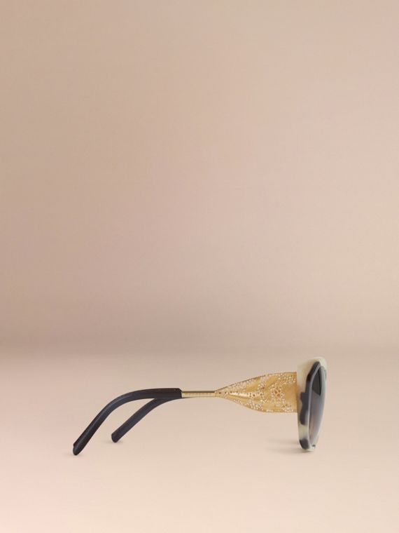 Gabardine Lace Collection Square Frame Sunglasses in Mid Tone Horn - cell image 3