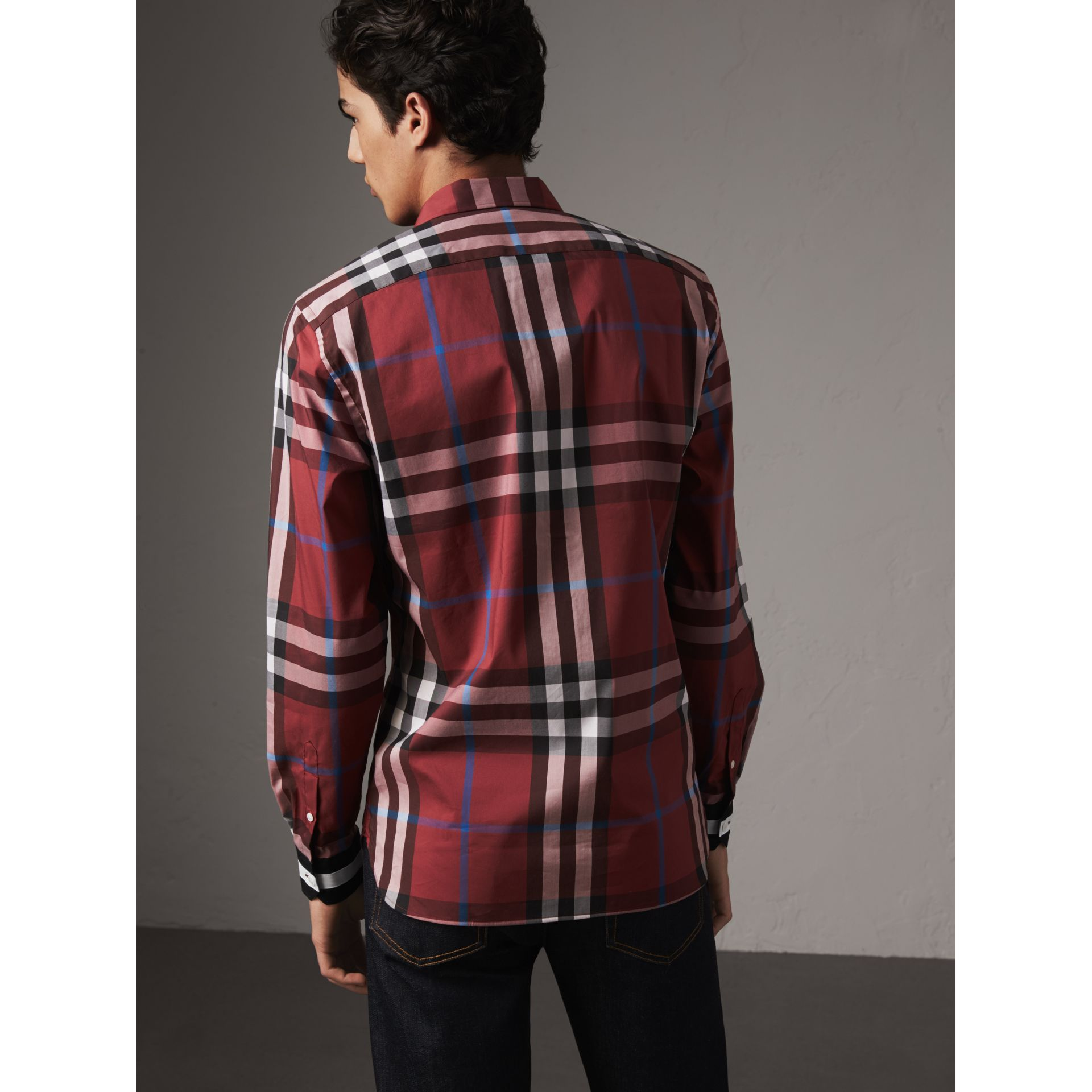 Striped Cuff Check Cotton Blend Shirt in Crimson Red - Men | Burberry Australia - gallery image 2