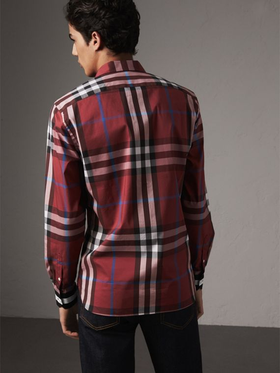 Striped Cuff Check Cotton Blend Shirt in Crimson Red - Men | Burberry Australia - cell image 2