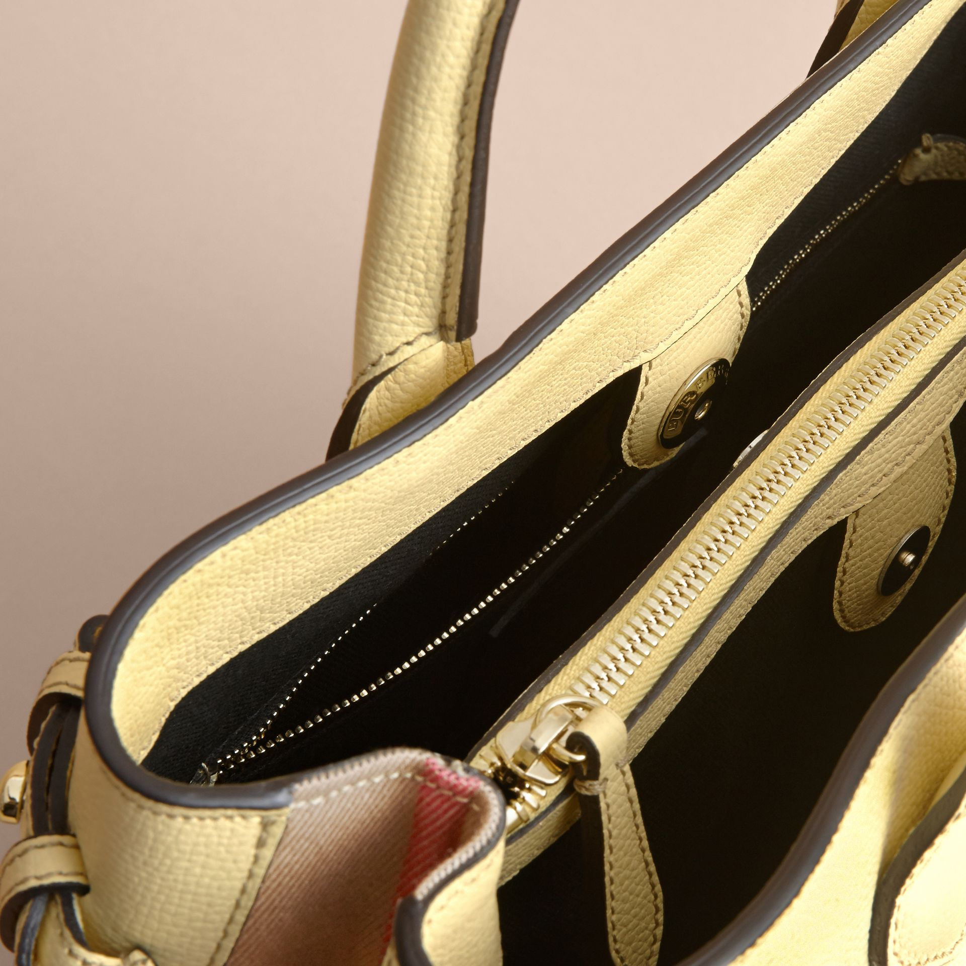 The Medium Banner in Leather and House Check in Camomile Yellow - Women | Burberry - gallery image 6