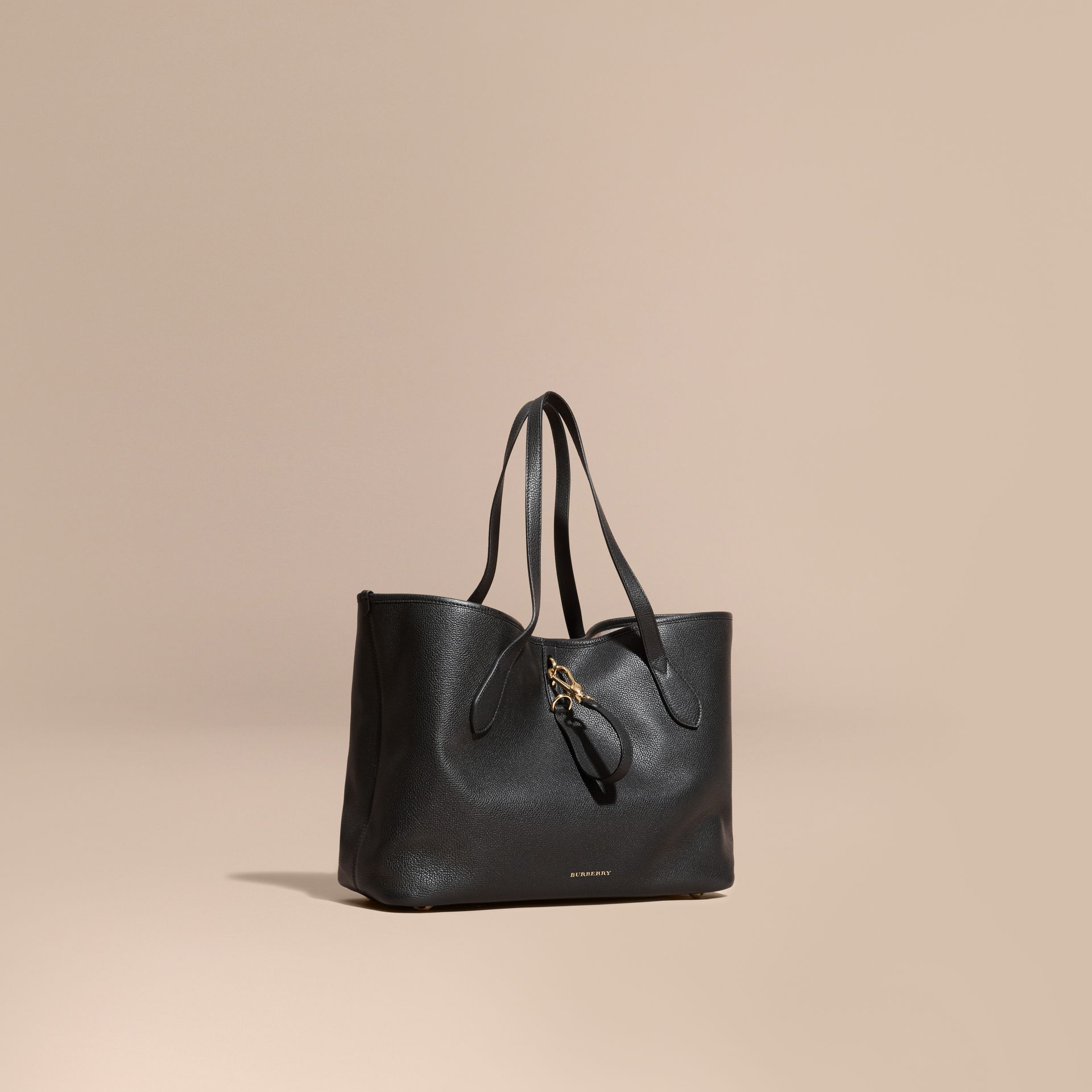 Black Medium Grainy Leather Tote Bag Black - gallery image 1