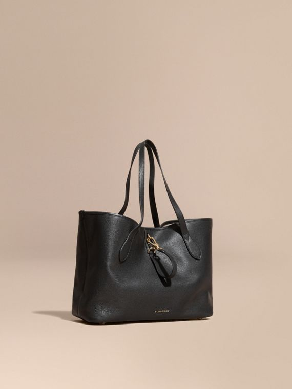 Medium Grainy Leather Tote Bag Black