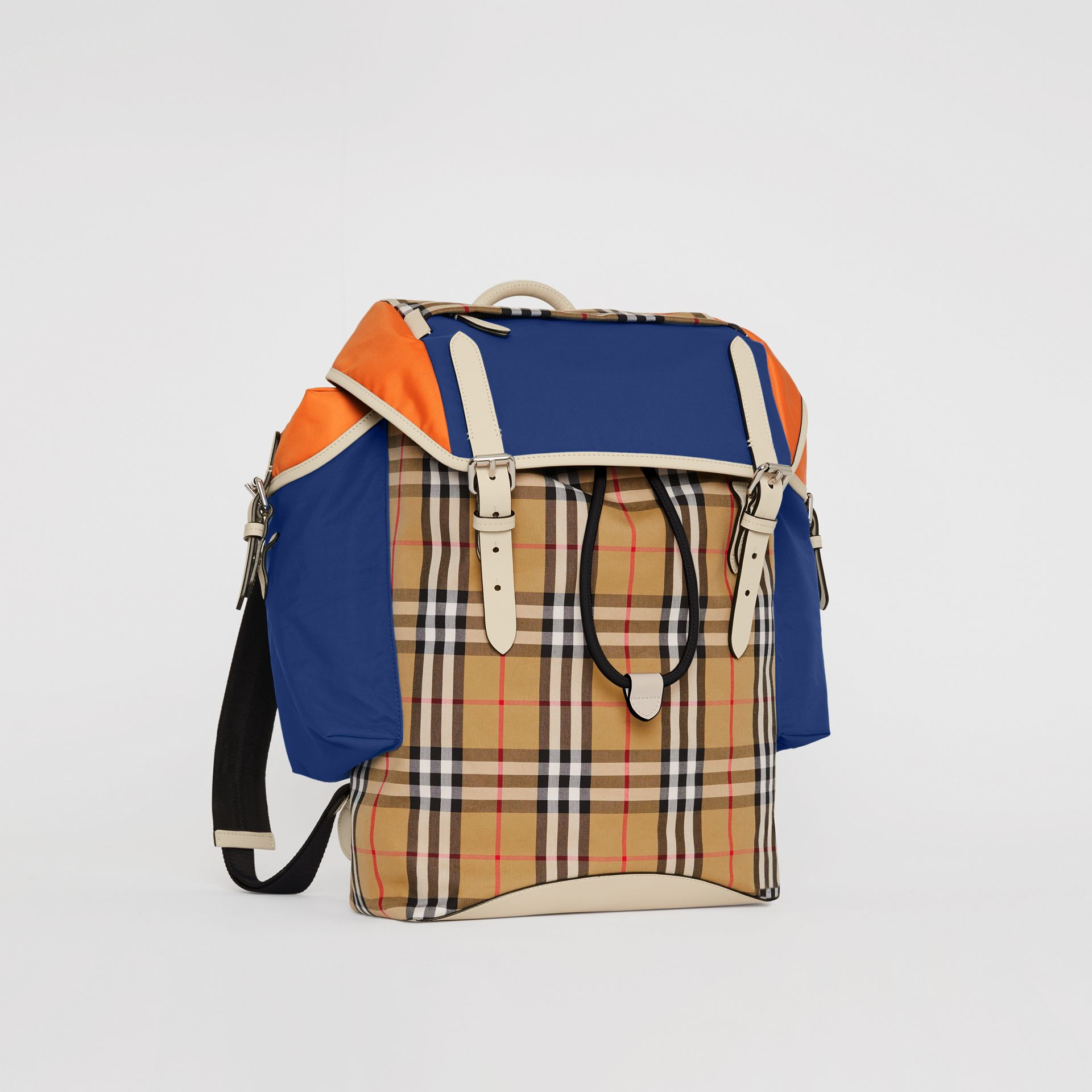 Colour Block Vintage Check and Leather Backpack in Cerulean Blue - Men | Burberry Australia - gallery image 6