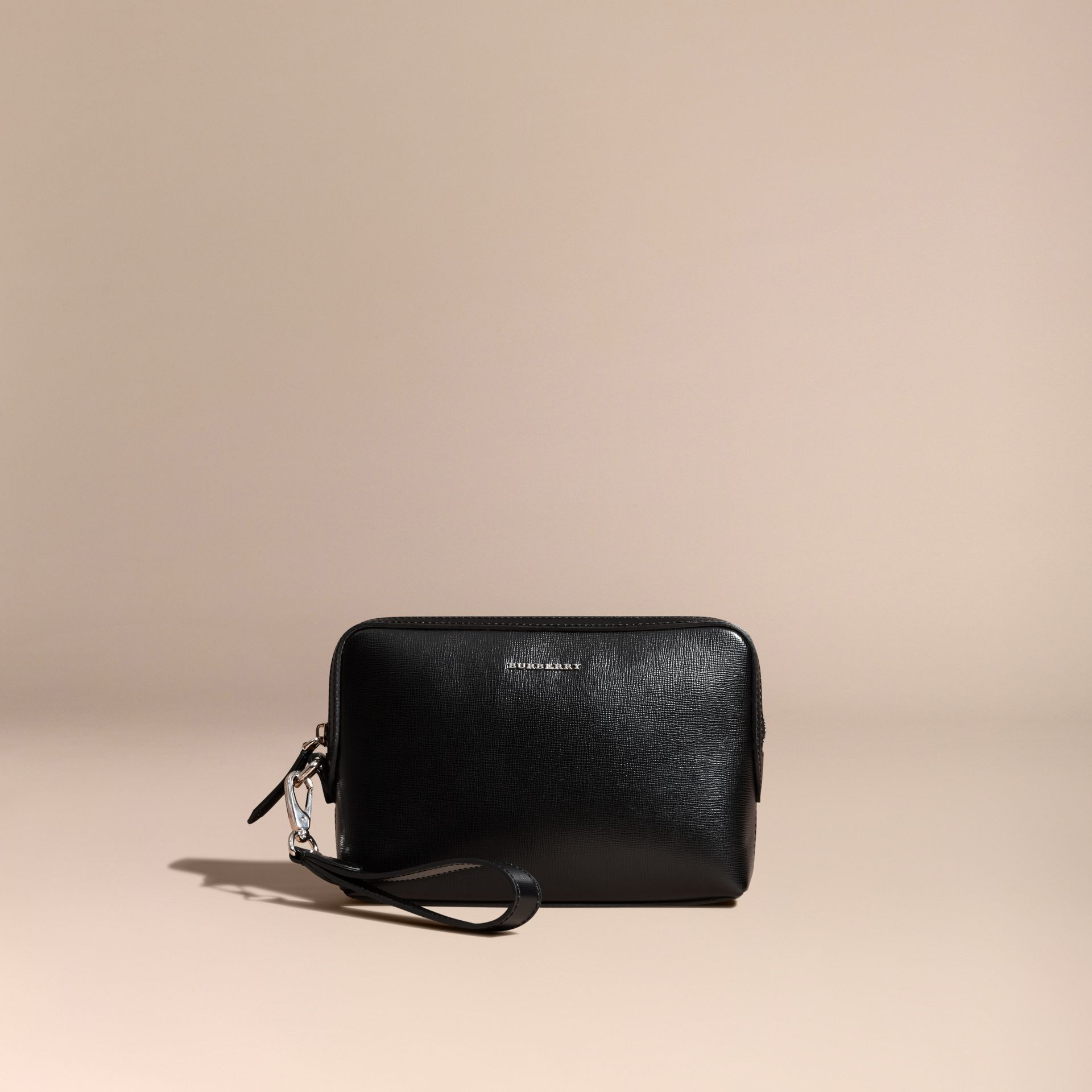 London Leather Pouch in Black - Men | Burberry - gallery image 6