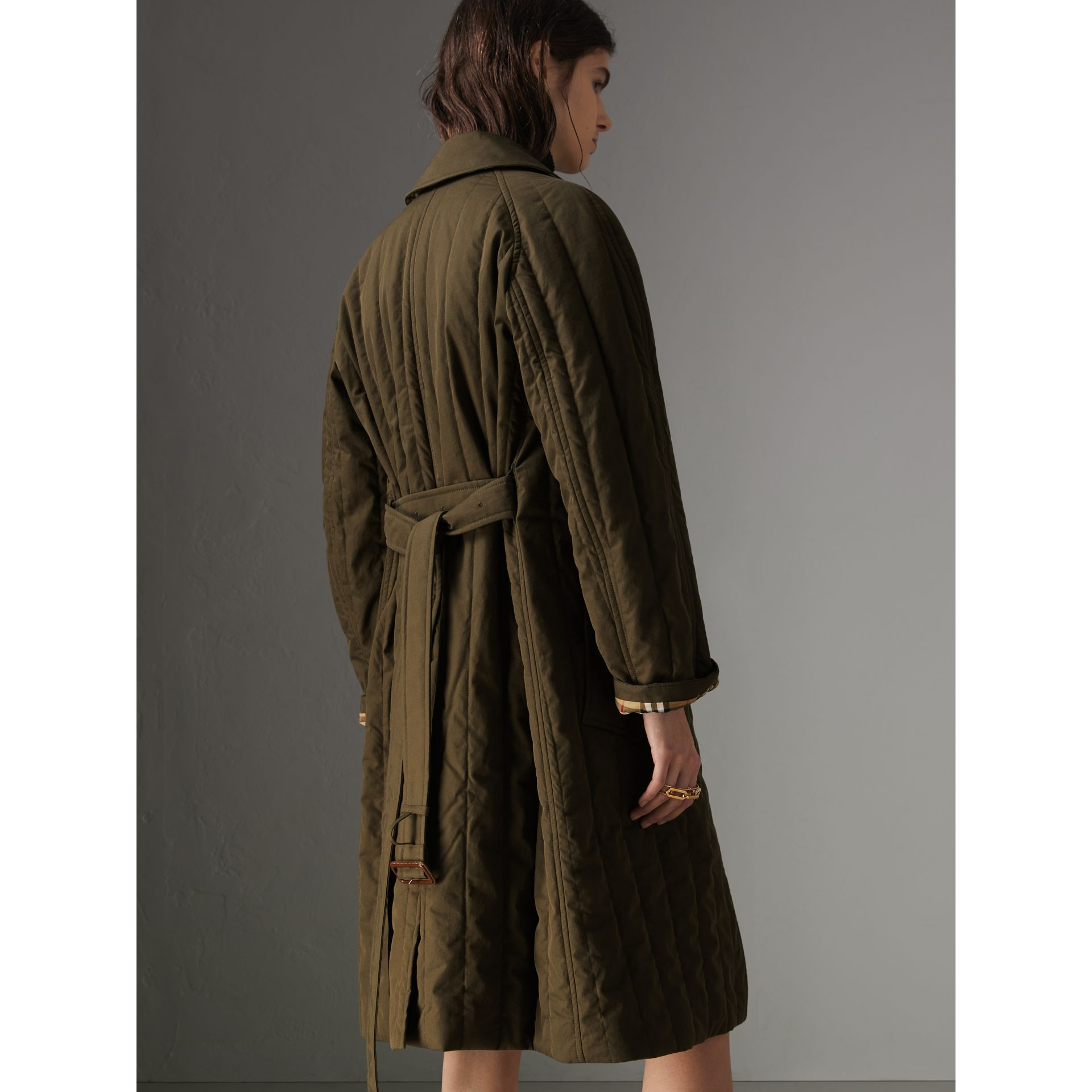 Quilted Tropical Gabardine Car Coat in Dark Military Khaki - Women | Burberry Australia - gallery image 2