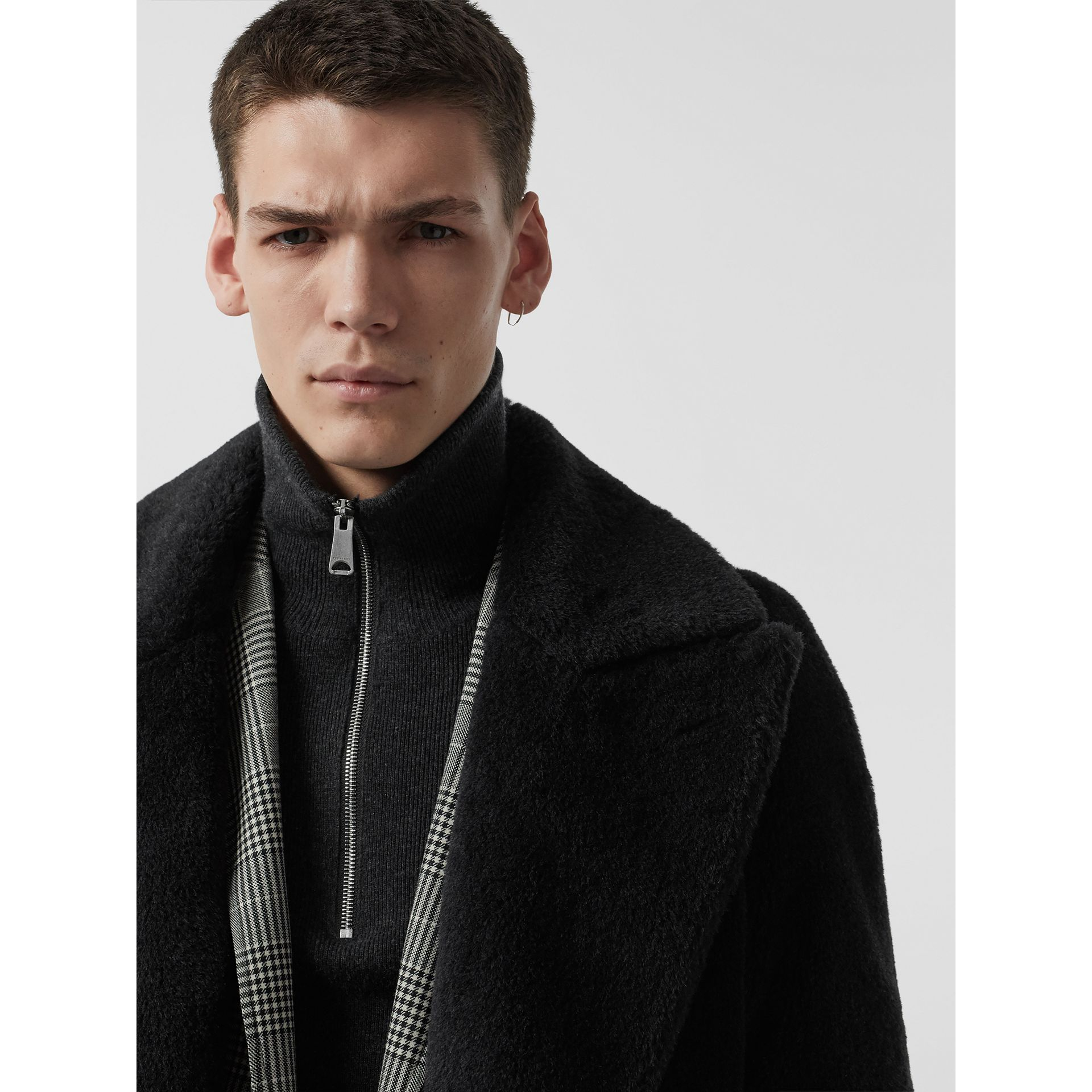 Alpaca Wool Cotton Double-breasted Coat in Charcoal - Men | Burberry Canada - gallery image 1