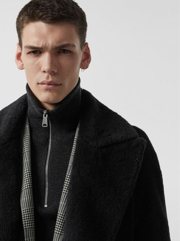 Alpaca Wool Cotton Double-breasted Coat in Charcoal - Men | Burberry Canada - cell image 1