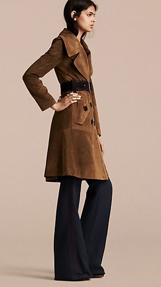 Double-breasted Suede Coat