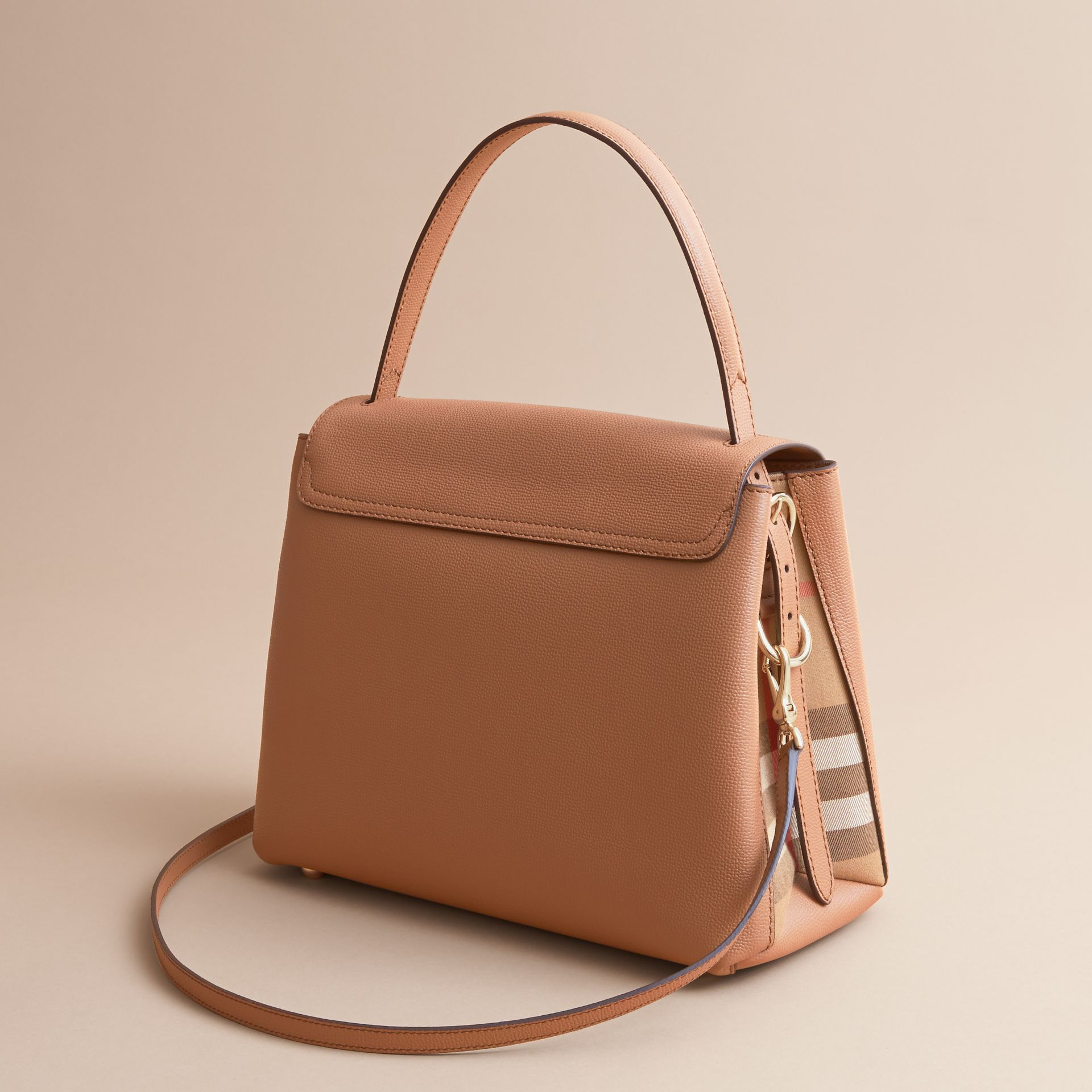 Medium Grainy Leather and House Check Tote Bag in Dark Sand - Women | Burberry Australia - gallery image 3