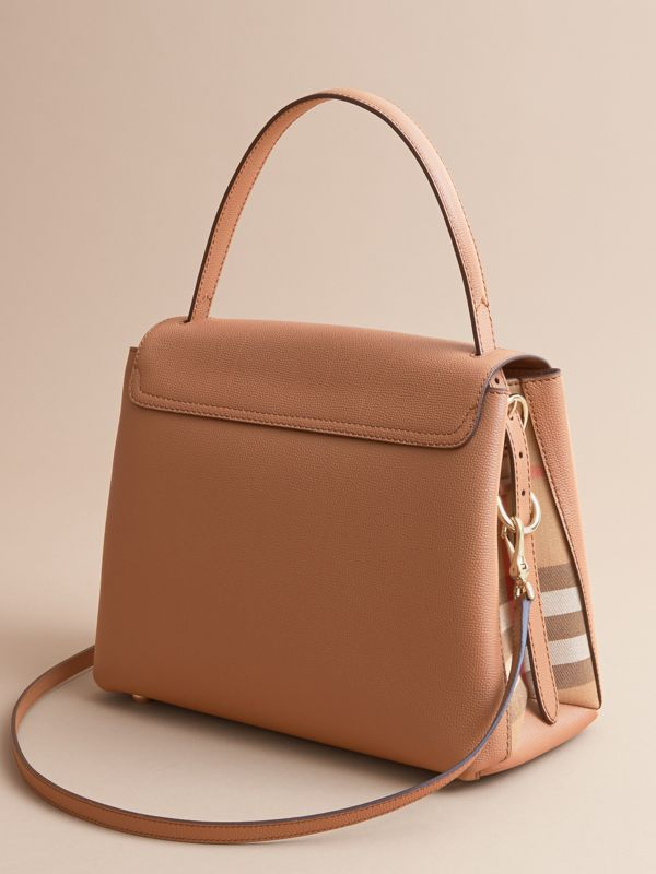 Medium Grainy Leather and House Check Tote Bag in Dark Sand - Women | Burberry Australia - cell image 3