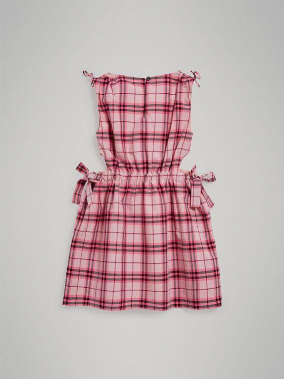 Tie Detail Check Cotton Dress in Bright Rose - Girl | Burberry - cell image 3