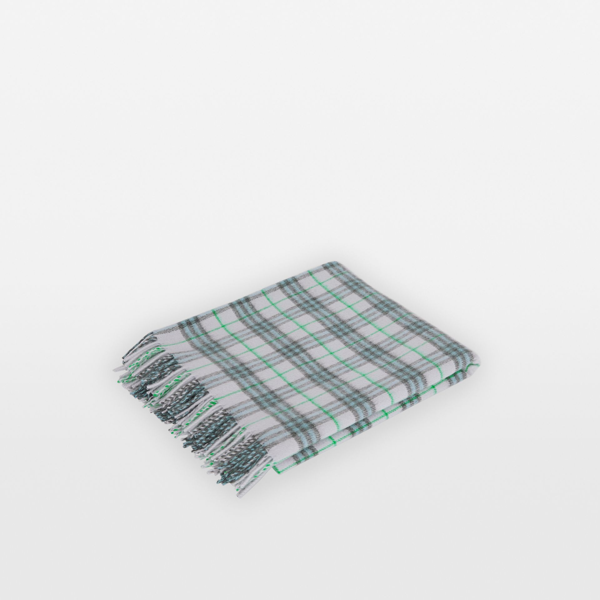 Check Cashmere Baby Blanket in Light Indigo - Children | Burberry - gallery image 0