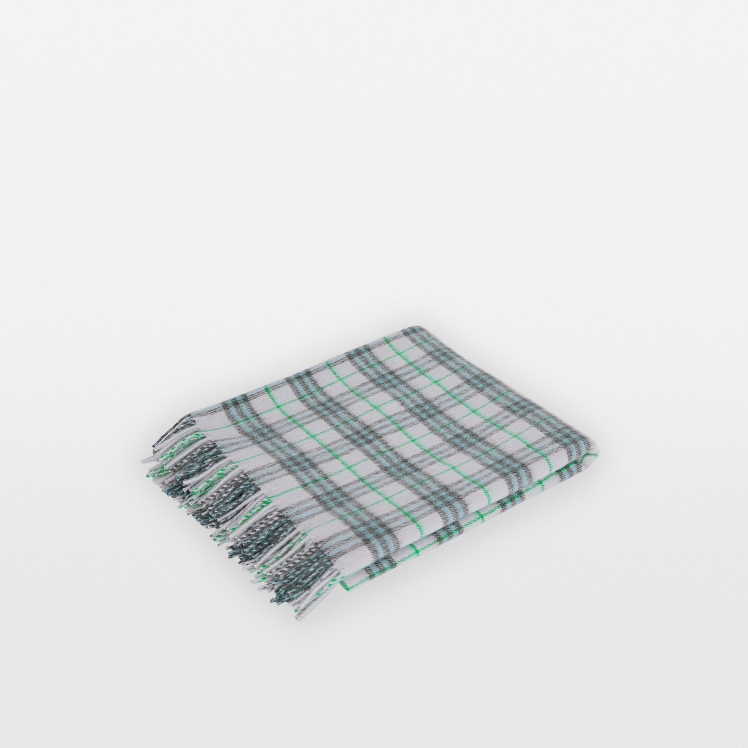 Check Cashmere Baby Blanket in Light Indigo | Burberry - 1