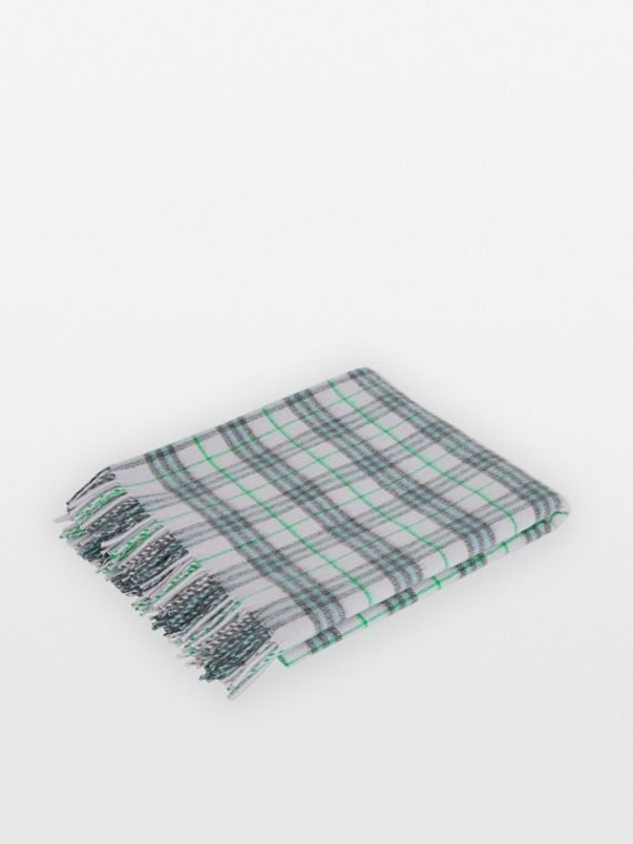 Check Cashmere Baby Blanket in Light Indigo