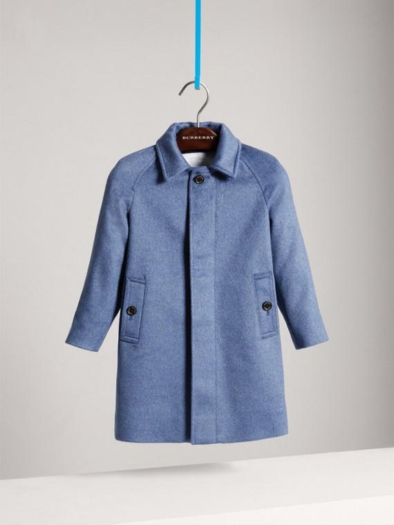Cashmere Car Coat in Steel Blue Melange - Boy | Burberry - cell image 2