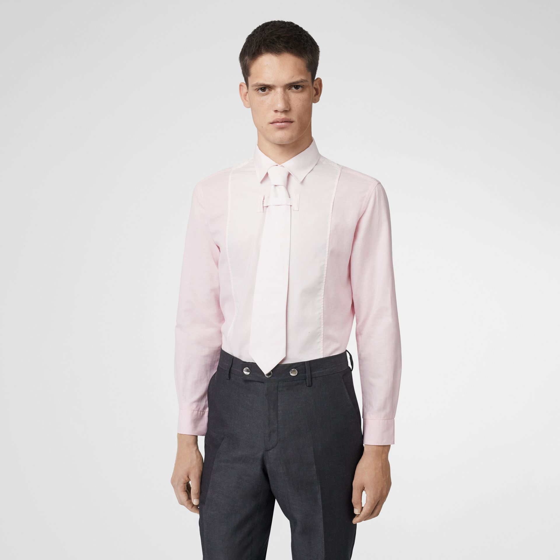Cotton Linen Shirt and Tie Twinset in Alabaster Pink | Burberry Singapore - gallery image 0