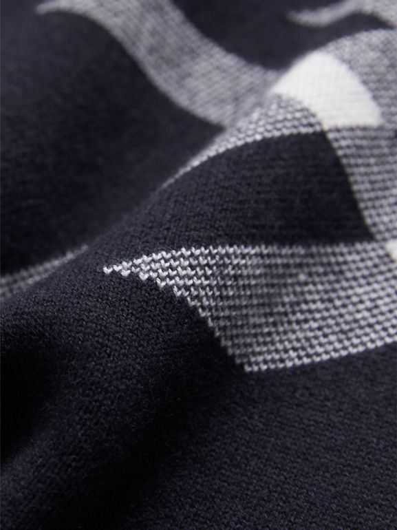 Check Cotton Cashmere Two-piece Gift Set in Navy | Burberry - cell image 1