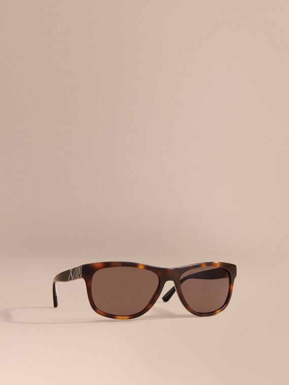 Check Detail Square Frame Sunglasses in Tortoiseshell - Men | Burberry