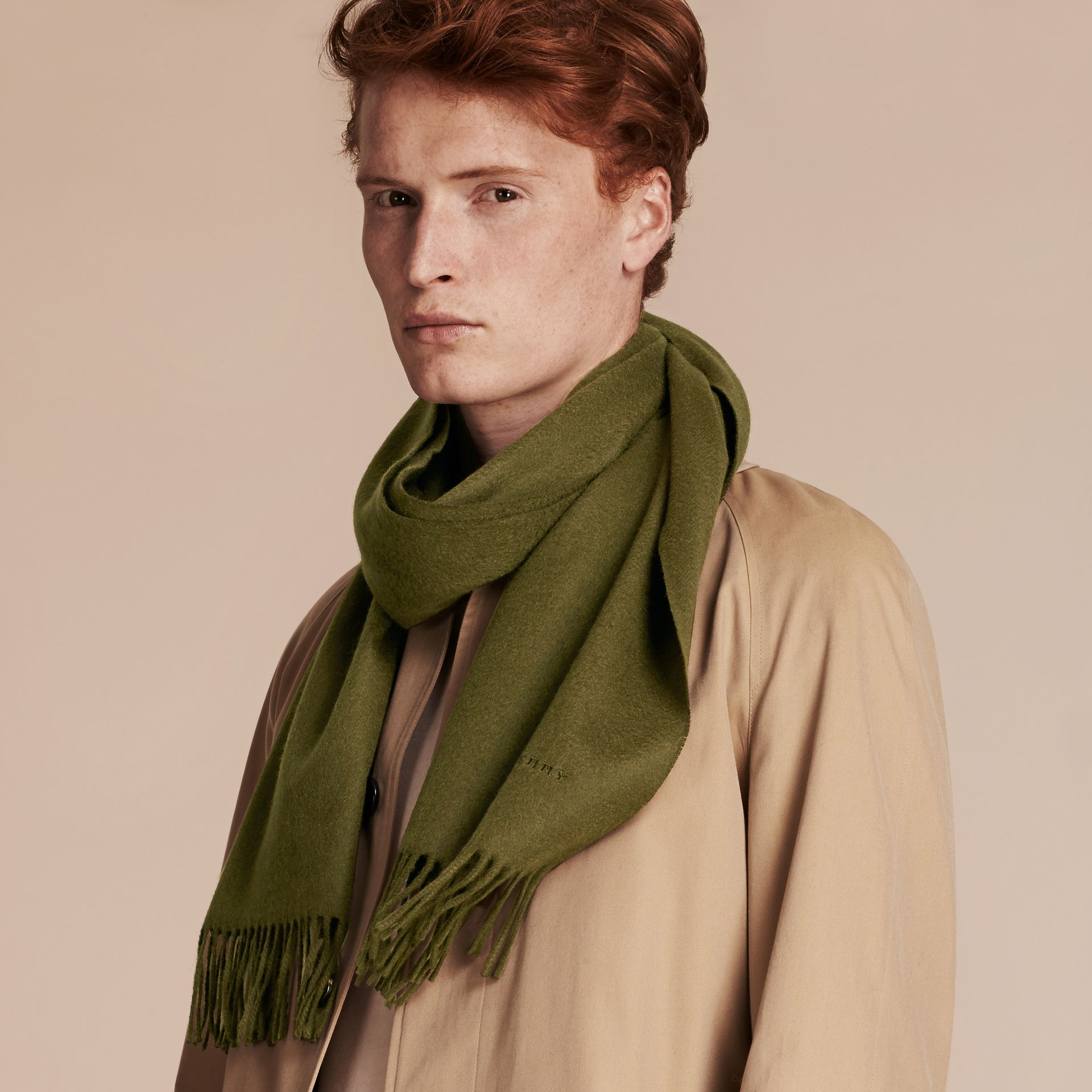 Olive green The Classic Cashmere Scarf Olive Green - gallery image 4