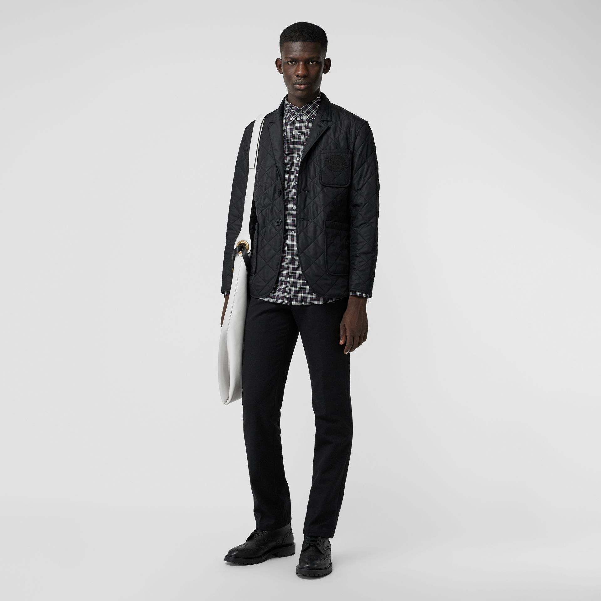 Diamond Quilted Thermoregulated Blazer in Black - Men | Burberry Australia - gallery image 0