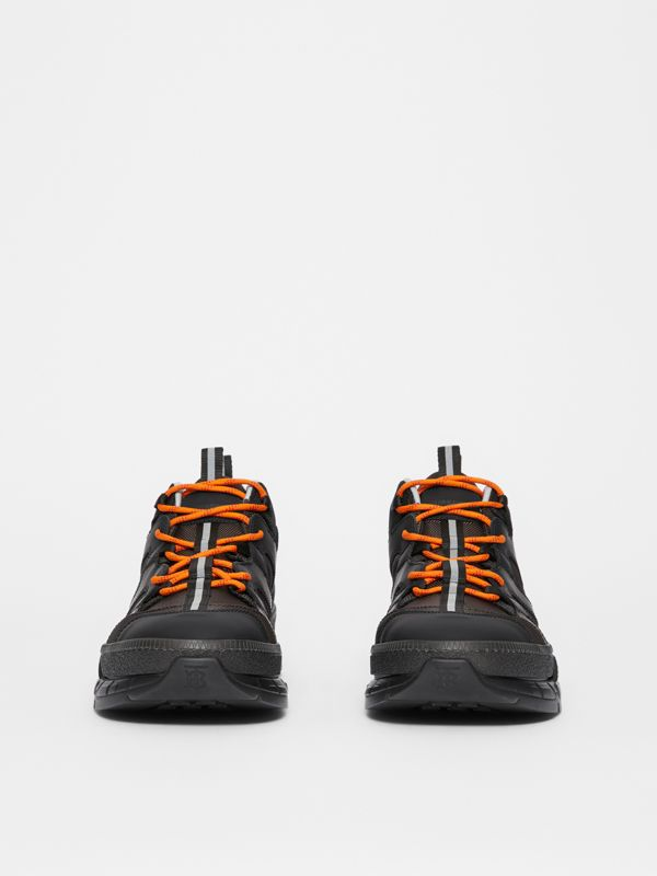 Mesh and Nubuck Union Sneakers in Black/grey - Men | Burberry Australia - cell image 3