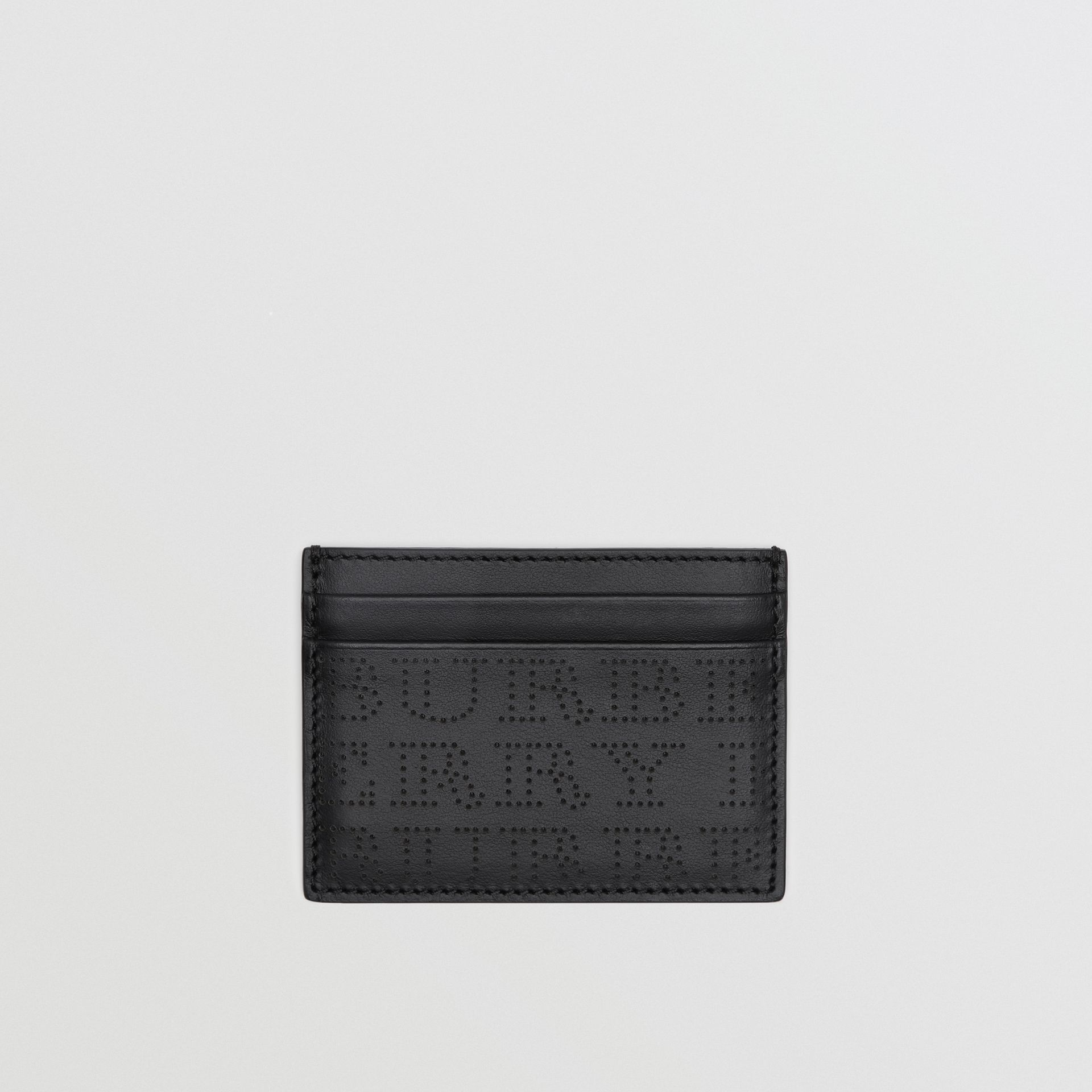 Perforated Logo Leather Card Case in Black | Burberry - gallery image 0